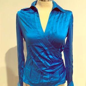 Silk wrap style blouse